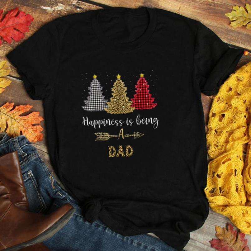 happiness is being a Dad Leopard plaid Christmas tree T Shirt