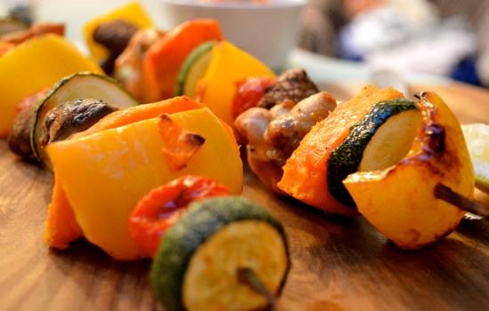 Rainbow chicken skewers with roasted red pepper pesto dip
