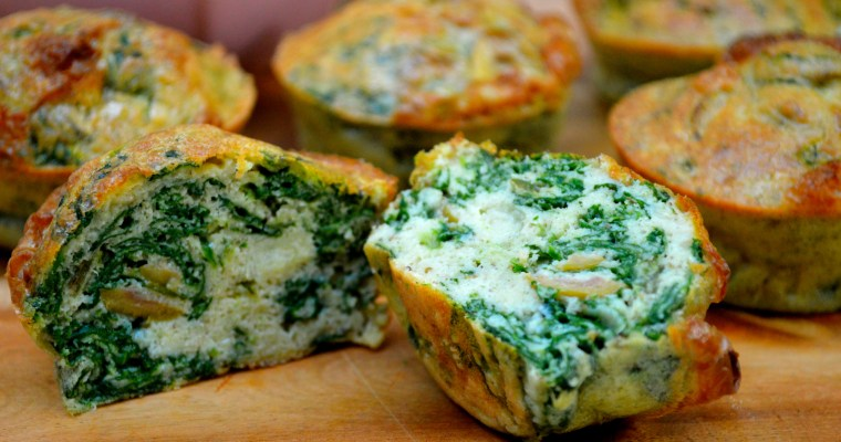 """Olive, spinach and spring onion """"no bread"""" muffins"""