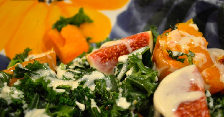 Warm kale, fig and butternut squash salad with a tahini dressing