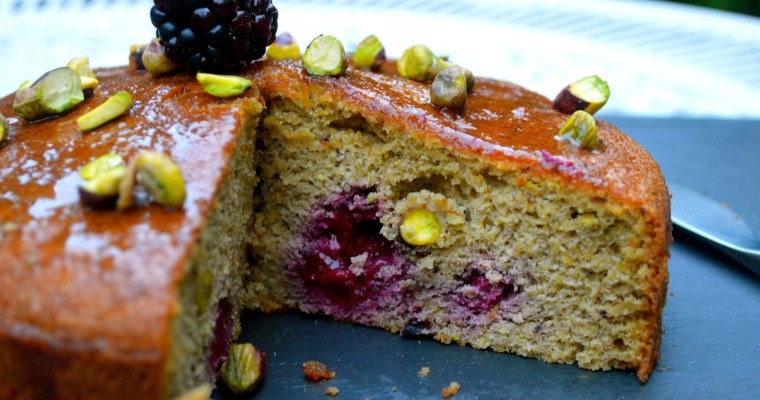 Mrs P's Pistachio and Blackberry cake