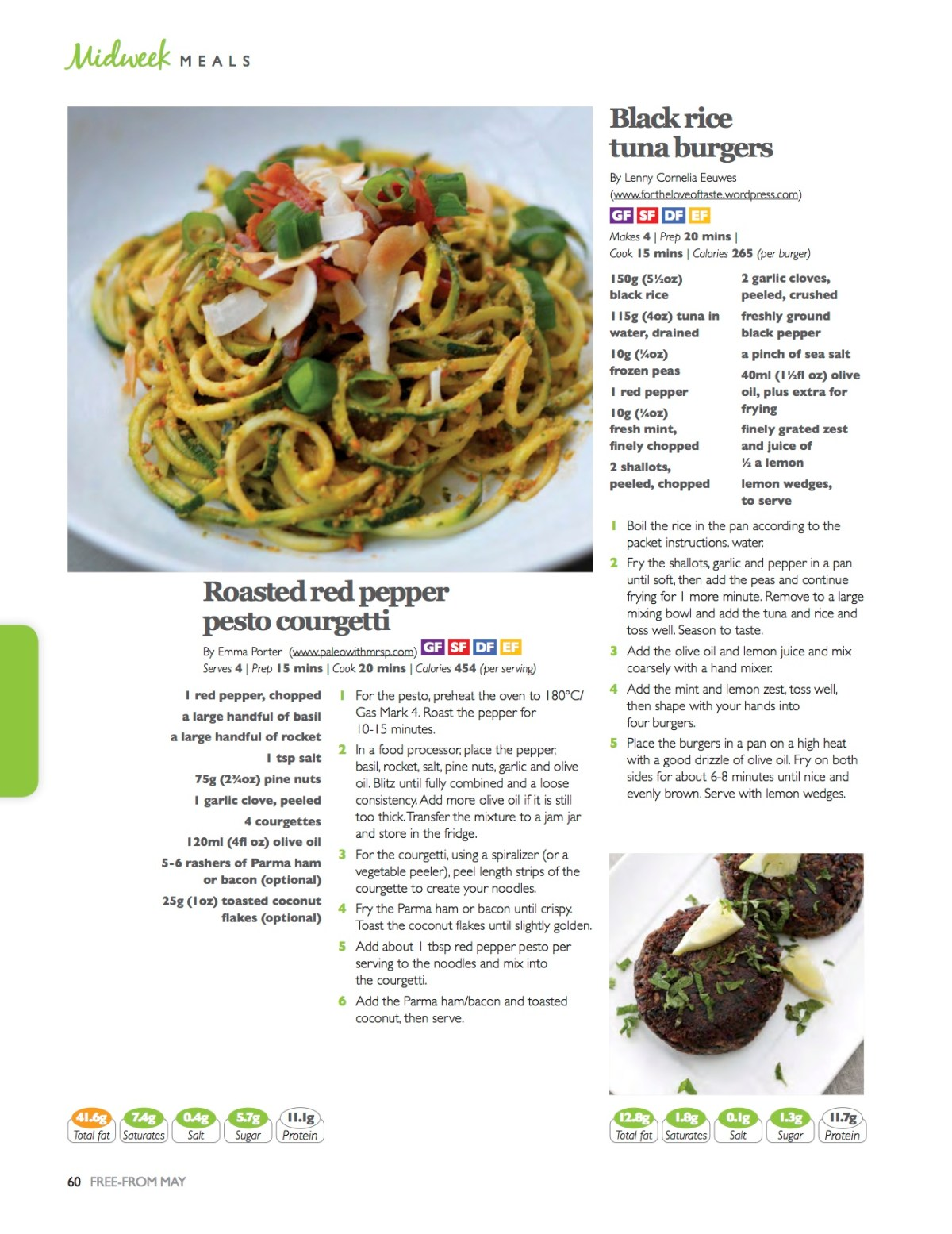 8 of my recipes were featured in Free From Magazine in May 2015, it was amazing seeing so many of my recipes in print!