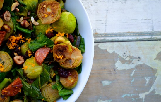 Pan-Fried Festive Sprouts With Orange, Chorizo, Cranberries and Hazelnuts
