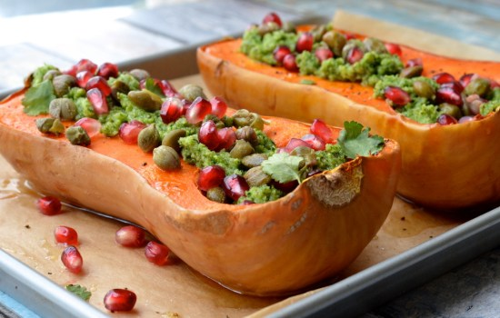 Roasted Butternut Squash with Broccoli Pesto