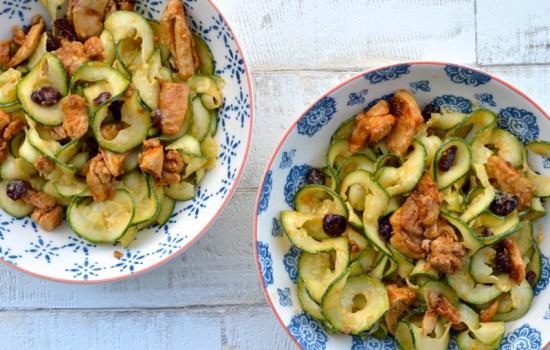 Tahini Courgetti with chilli mango dressing