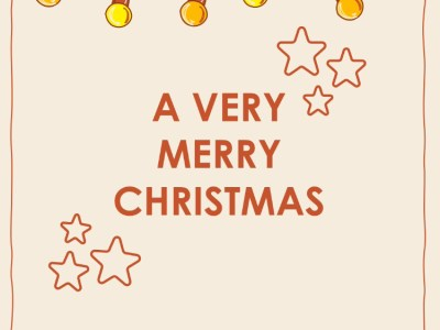 A Very Merry Christmas on a cream background, with animated fairy lights across the top.