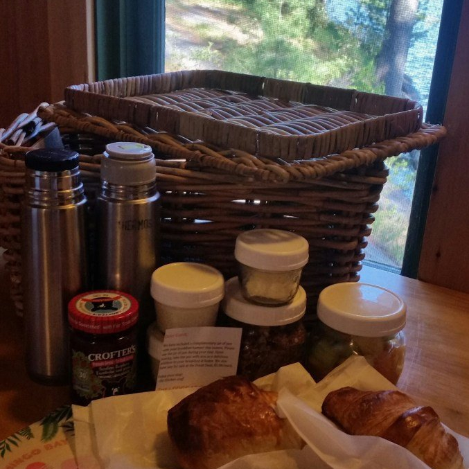The best delivered basket of breakfast goodies with a view. French River, Ontario | Luxuriously Thrifty