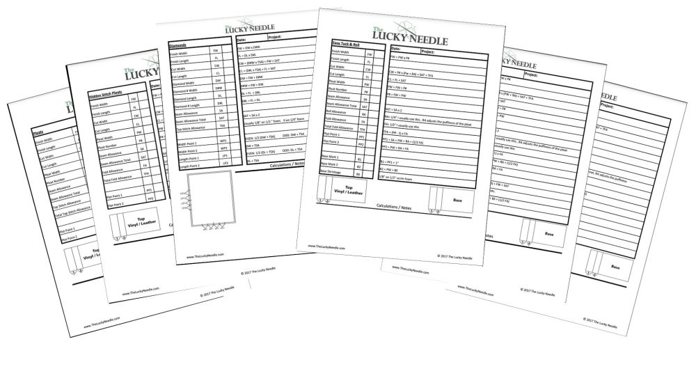 Pleats Worksheets for Upholstery Training DVD's