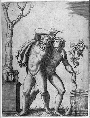 "Bacco - Raimondi Marcantonio (1480-1534) - ""Due Baccanti"" - Engraving"
