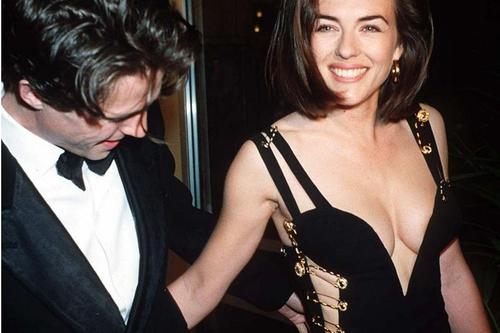 Elizabeth Hurley looking radiant wearing with THAT Versace dress