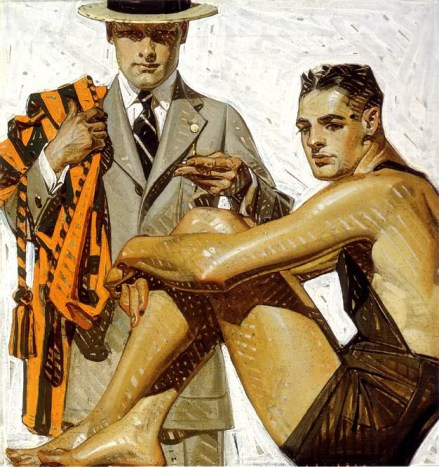 Men in Swimsuit and Suit ca 1920, by J-C Leyendecker