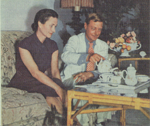 Rare color photo of the Duke and Duchess of Windsor having tea at Government House in the Bahamas, 1940.