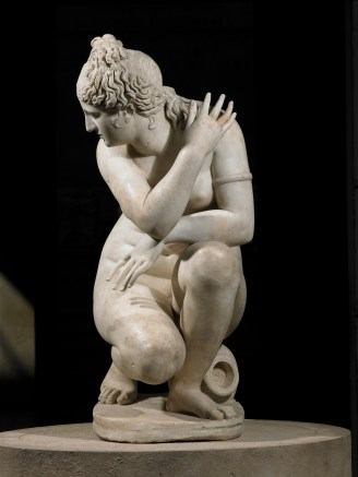 Marble statue of a naked Aphrodite crouching at her bath, also known as Lely's Venus. Roman copy of a Greek original, 2nd century AD. Height 120cm. Royal Collection Trust / © Her Majesty Queen Elizabeth II 2015
