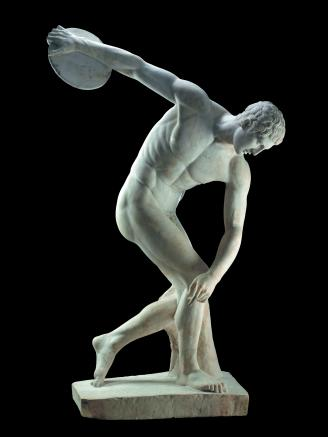 Marble statue of a discus-thrower (discobolus) by Myron. Roman copy of a bronze Greek original of the 5th century BC. Height 173cm x width 100cm. © The Trustees of the British Museum