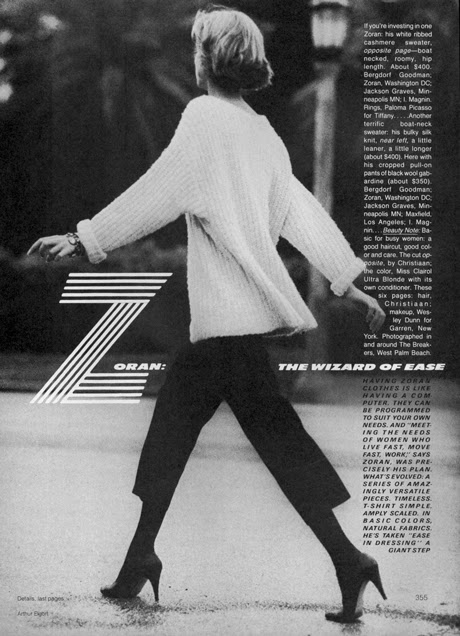Zoran, The Wizard of Ease (Vogue, March 1983), photographed by Arthur Elgort styled by Grace Coddington
