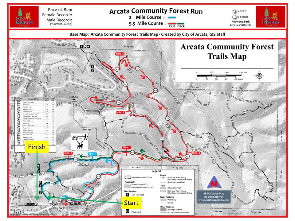 The Arcata Community Forest Run course map, found on the Six Rivers Running Club's website at www.6srrc.com. | Erin Chessin