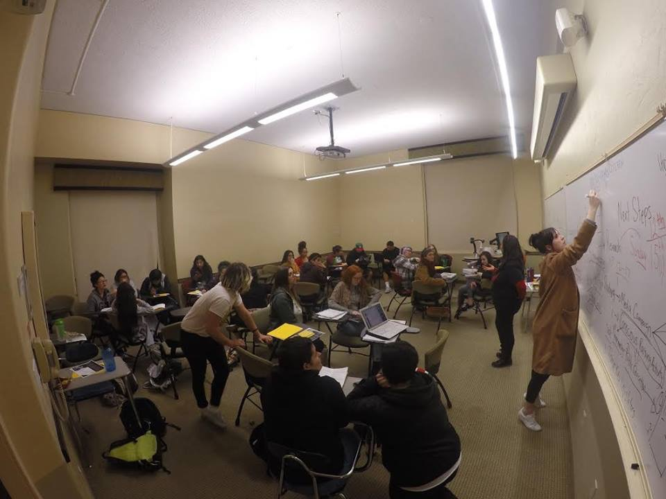 Photo of HSU's Power Up! members discussing organizing strategies and tactics to address unequal access to higher education. Photo courtesy of Maricela Wexler