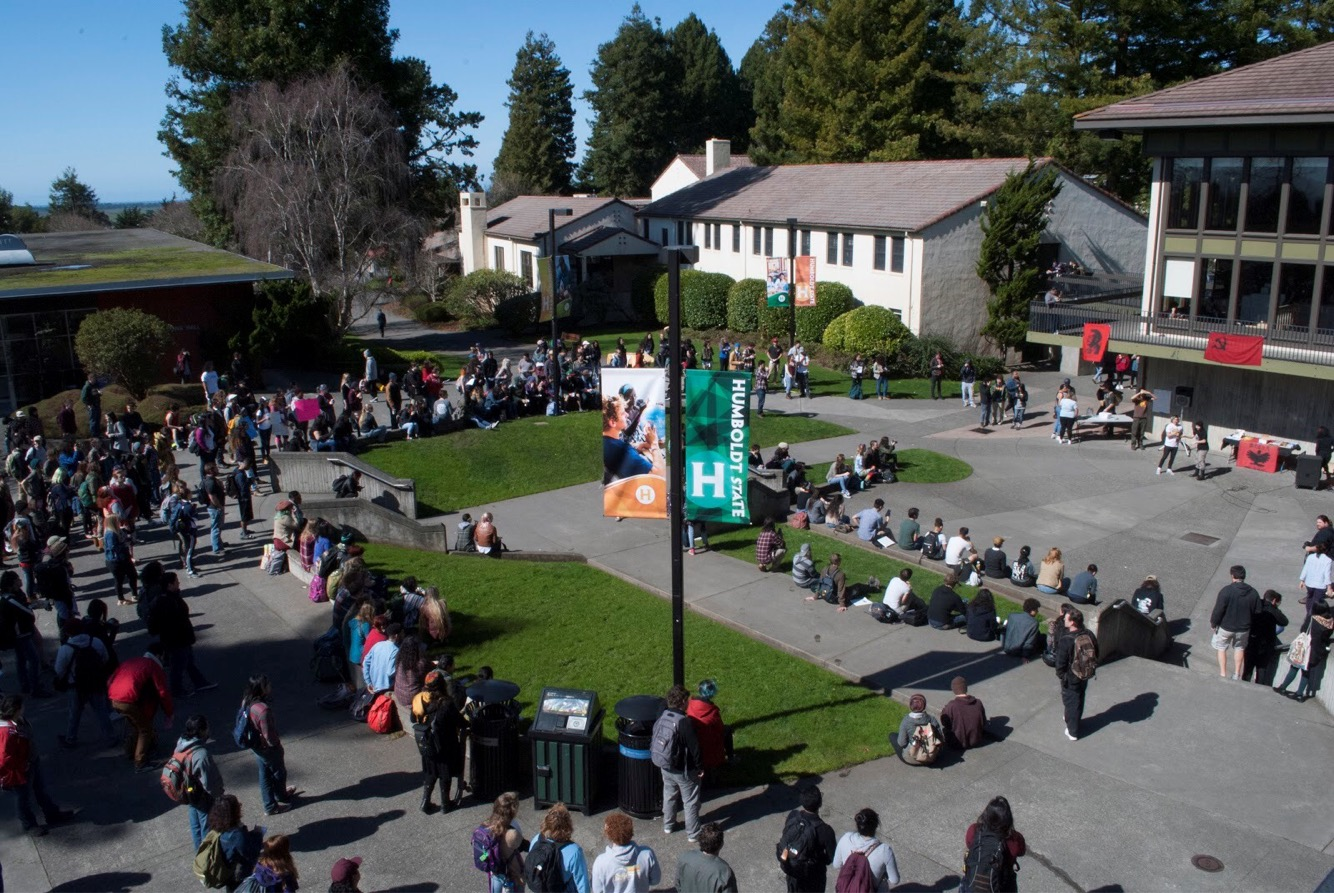 HSU Students walk-out of class on March 1st to protest tuition hikes. Photo courtesy of Ryan Cantor.