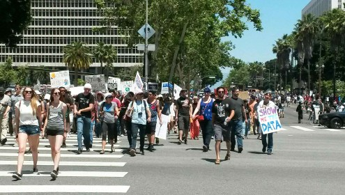 Protestors march towards Pershing Square in LA | Photo by Kelly Bessem