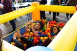 HSU students taking pictures inside of the ball pit. | Photo by Sarahi Apaez