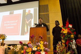 """Chief of Police, Tom Chapman speaking at Lawson's vigil at the KBR on Thursday, April 20 2017. """"We're going to get justice for Josiah,"""" Chapman said to the audience. 
