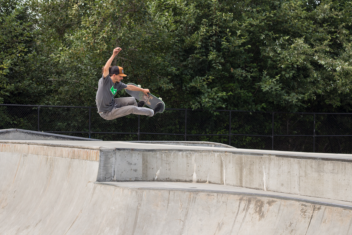 Robert Selph catches a ton of air at the Eureka Skate Park.