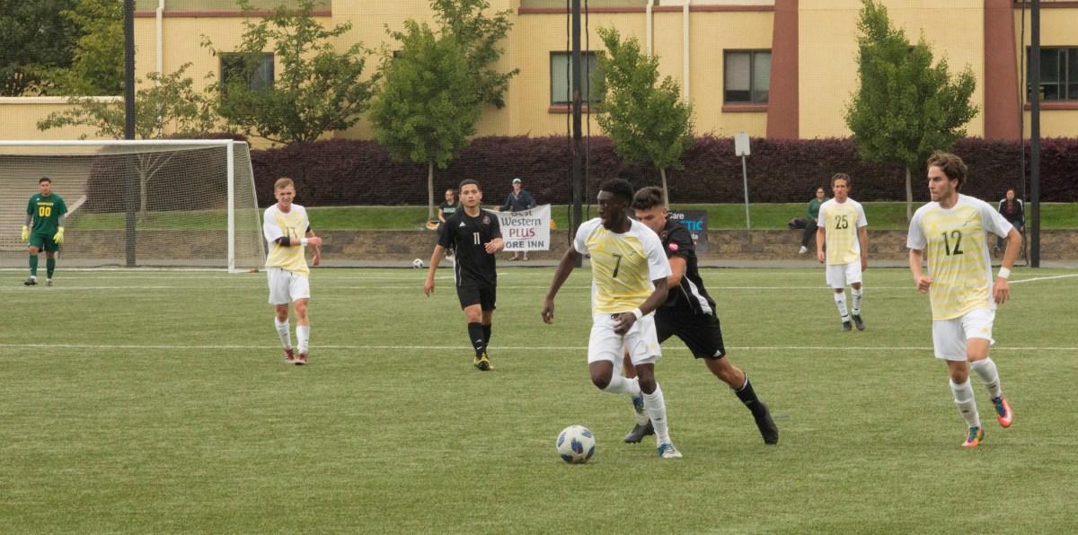 Men's soccer splits opener