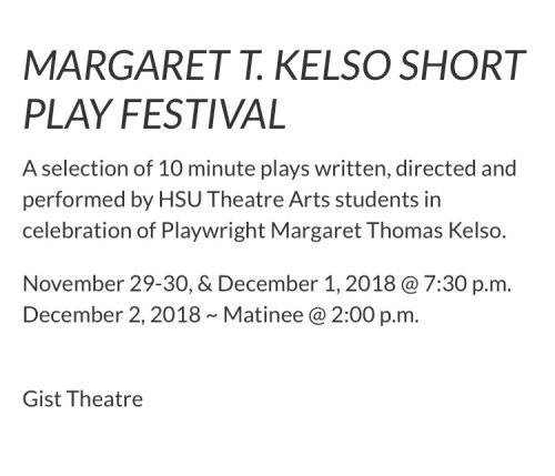Short play festival dates and times