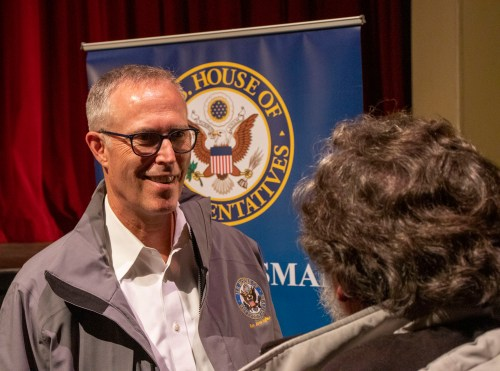 Huffman talks to community members at a town hall meeting February 21, 2020. | Photo courtesy Kris Nagel