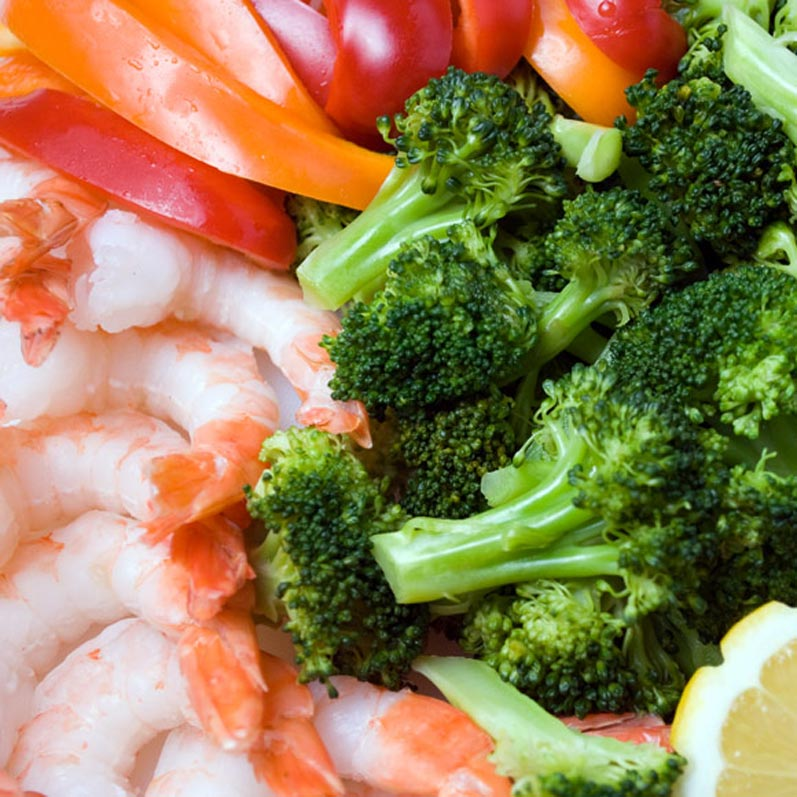 Mise-en-Place for Spanish Broccoli & Prawn Salad