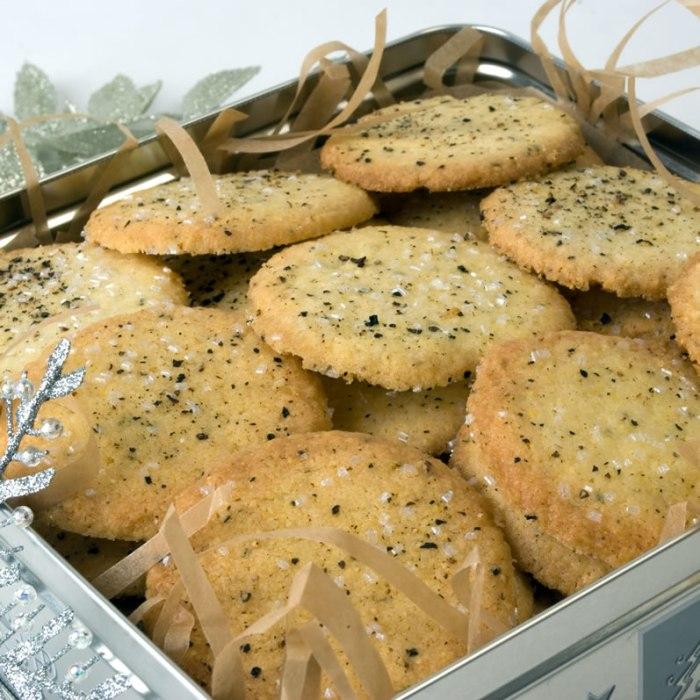 Cornmeal, Black Pepper & Rosemary Cookies in Cookie Tin