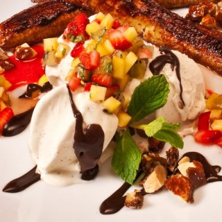 Fried Banana Split with Mexican Chocolate Sauce & Strawberry Lime Salsa