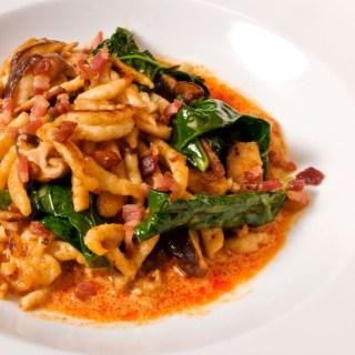 Spaetzle, Wild Mushrooms & Broccoli Rabb with Thai Yellow Curry Sauce