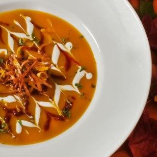 Warm Spiced Red Kuri Squash & Orange Soup with Cinnamon Harissa