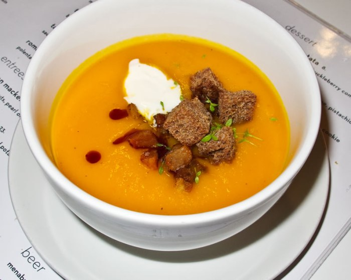 Winter Squash Soup Boston: Sportello's Kuri Squash Soup with Pork Belly, Rye Croutons & Pumpkin Seed Oil