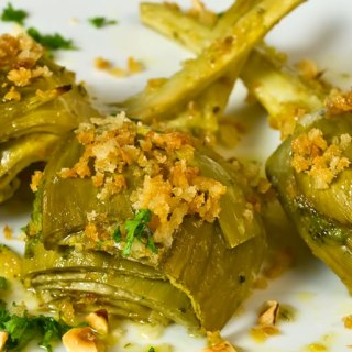 Lemon & Thyme Marinated Artichokes with Garlic Bread Crumbs & Toasted Hazelnuts