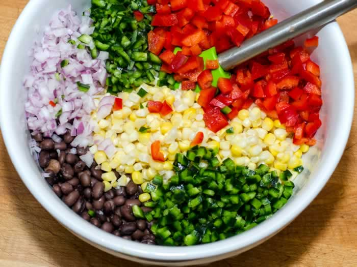 Chopped Ingredients for Corn & Black Bean Salsa in a Bowl