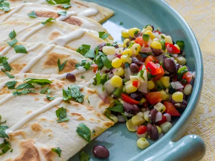 Sweet Corn & Black Bean Salsa with Smoked Cheddar Quesadillas