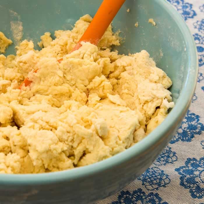 Mixing Ricotta Cavatelli Pasta Dough