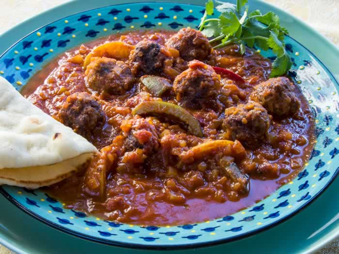 Moroccan Kefta Tagine (Spicy Meatballs with Tunisian Tomato Sauce, Olives & Preserved Lemon)