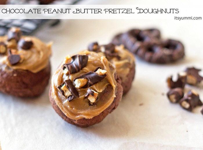 Chocolate Peanut Butter Pretzel Doughnuts   ItsYummi