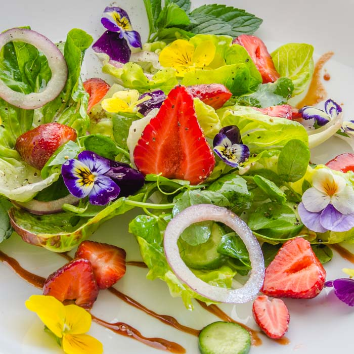 Strawberry, Baby Lettuce, & Pea Vine Salad with Strawberry Balsamic Vinaigrette