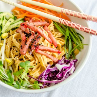 Cold Spiced Peanut Sesame Noodles with Peanut Chile Sauce