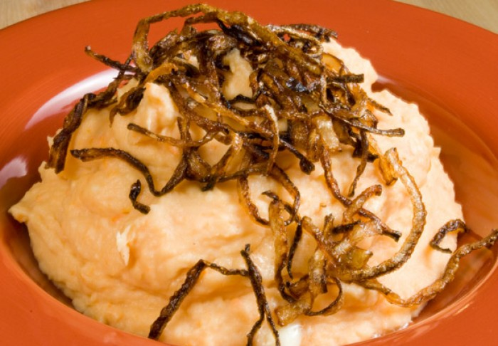 Perfect Mashed Potatoes: Potato, Yam, Garlic & Gorgonzola Mashers with Frizzled Onions