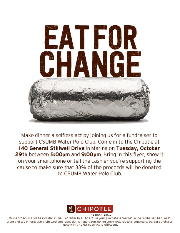 Oct29_CSUMB Water Polo Club_Chipotle Fundraiser for CSUMB Water Polo Club