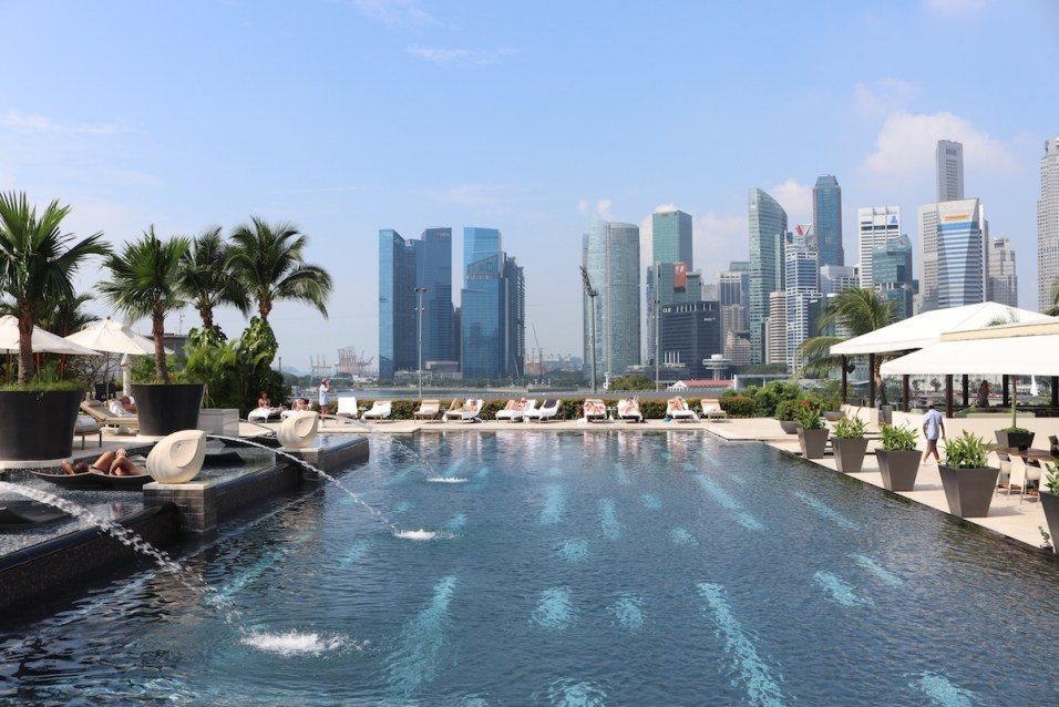 Outdoor pool with skyline view