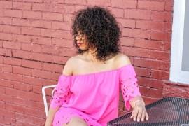 pink off the shoulder dress romwe