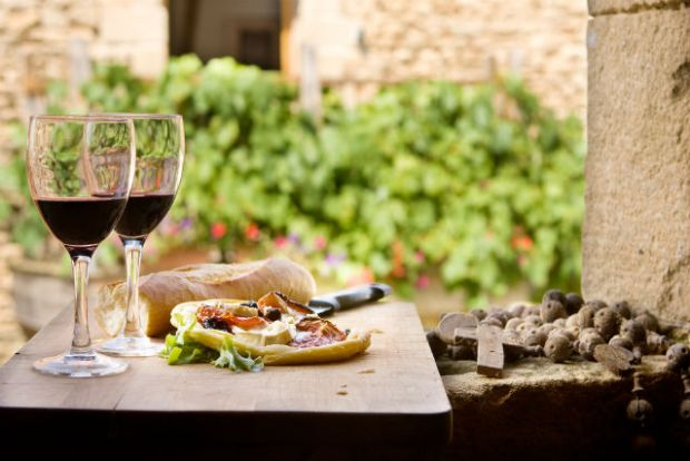 Wine and antipasti France