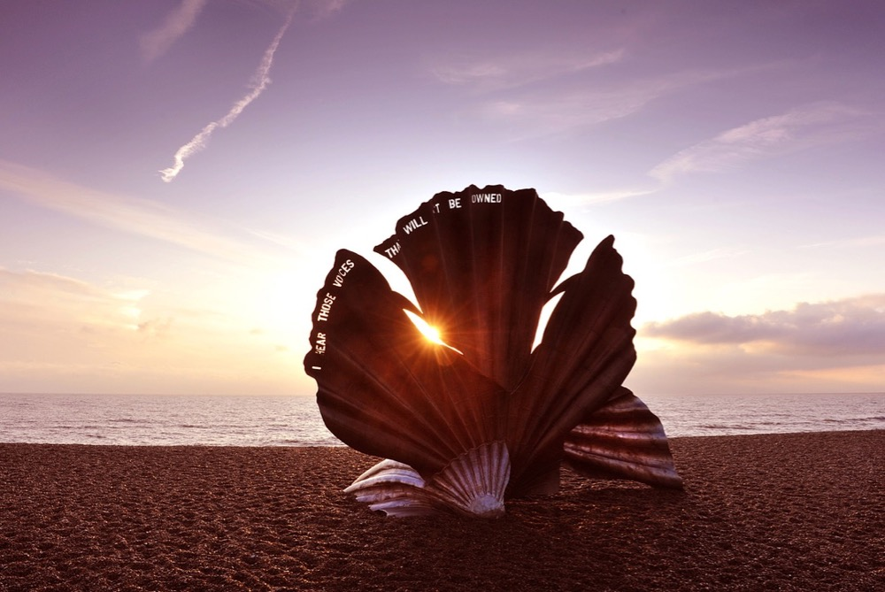 The Scallop by Maggi Hambling on Aldeburgh's beach - 2 (med)