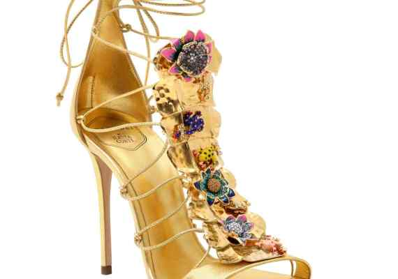Casadei by Ilenia Corti metal plaque leather sandals, £1,800   Image: Omer Knaz